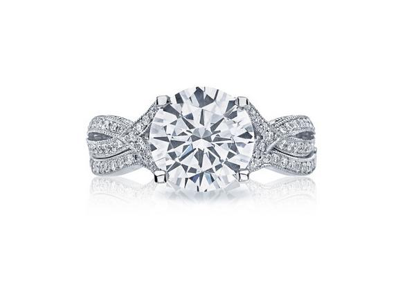 A unique setting from Tacori for a round brilliant diamond.