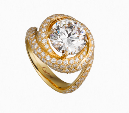 Trinity Ruban ring from Cartier featuring a round Brilliant center stone.