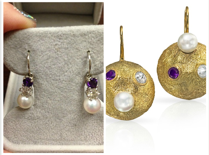Amethyst and Pearl earring redesign by Wendy Brandes