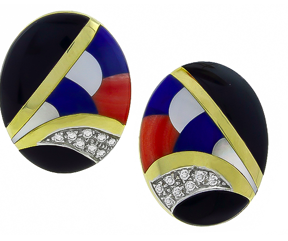 14k Inlaid Coral, Lapis, and Onyx earrings from Asch Grossbardt at Israel Rose Jewelry