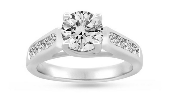 PureGrown Diamonds  ROUND BRILLIANT GROWN DIAMOND ENGAGEMENT RING WITH CHANNEL-SET SIDES IN 14K GOLD (1 1/2 CTW)