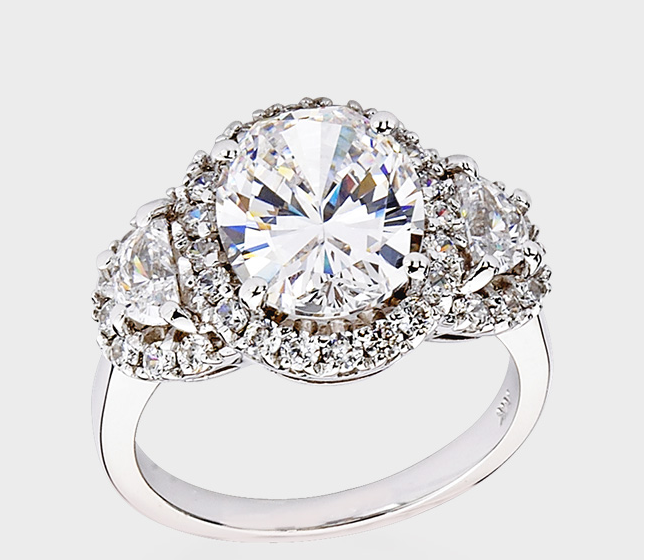 14K White Gold and CZ designer Inspired Engagement Ring from Birkat Elyon