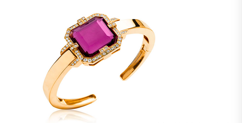 G-One Rubellite and  Diamond Cuff from Goshwara