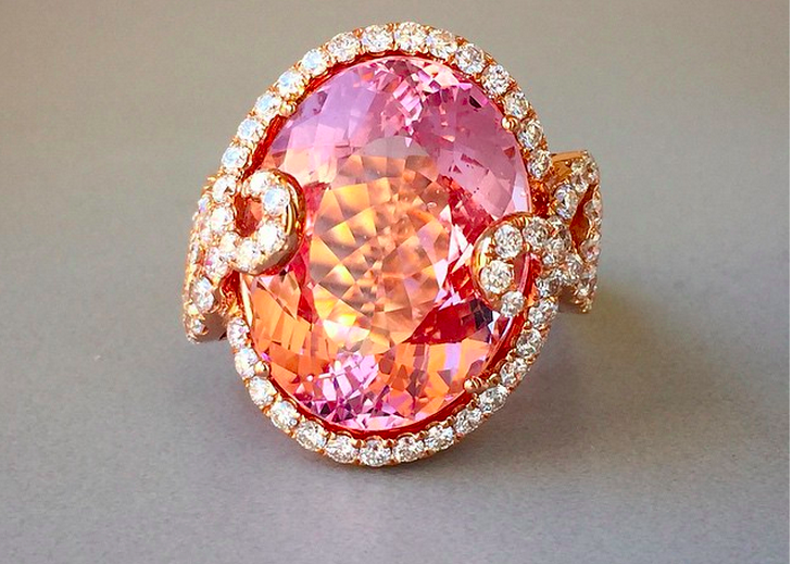 Lyra Morganite and Diamond ring From Yael Designs