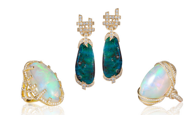 G-one Opal and diamond Rings and Earrings in 18k Gold