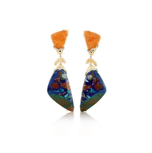 Petra One Of A Kind Azurite Cuprite & Peach Drusy Earrings
