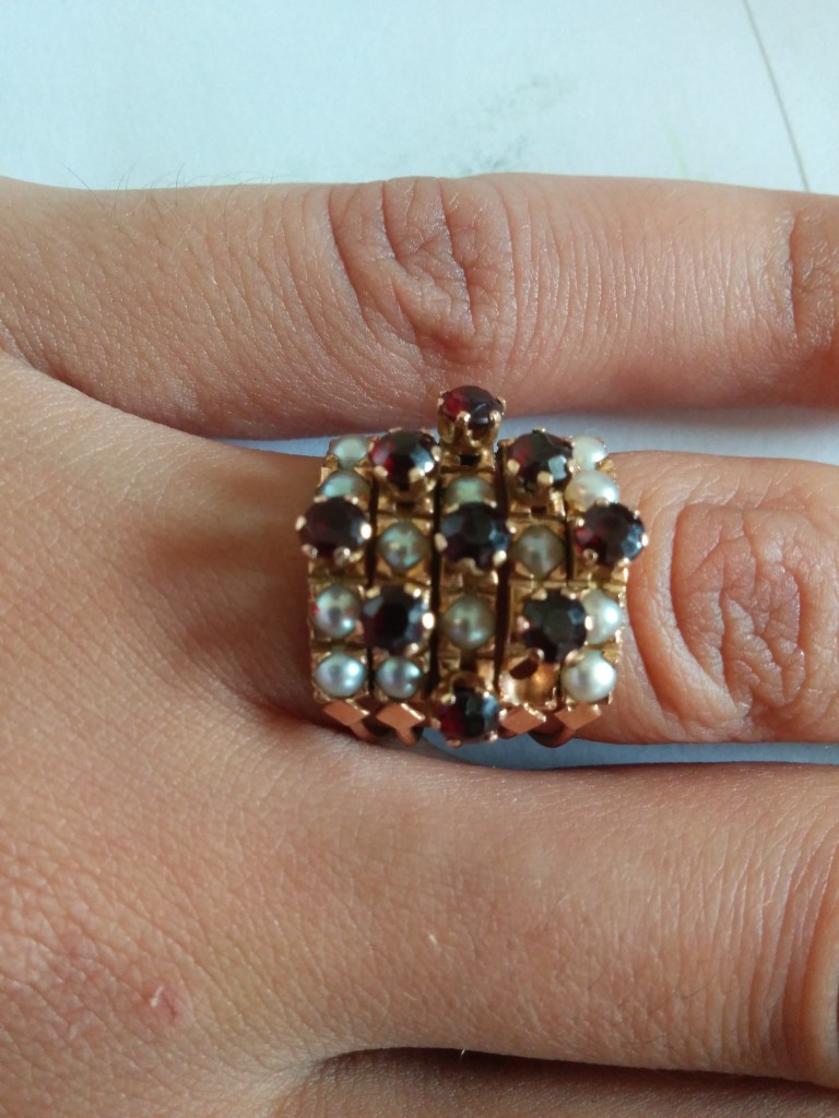 Pearl & Ruby Harem/stack Ring