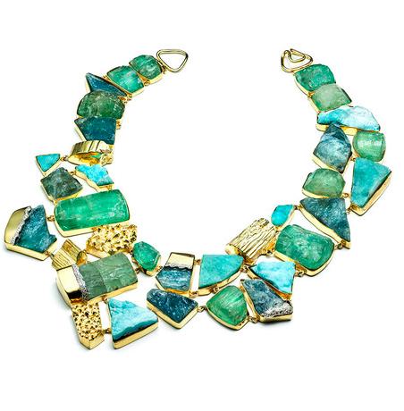Petra Bib Necklace in Raw Green Beryl, Hemimorphite and Aquamarine set in 18K Gold.