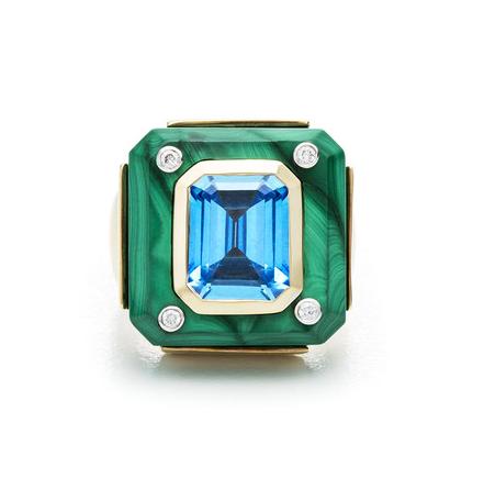 Small Cava Ring In Malachite With Blue Topaz