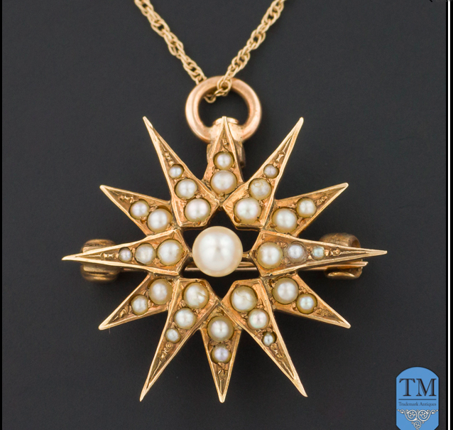 Antique 14k Gold & Pearl Sunburst Necklace with Seed Pearls