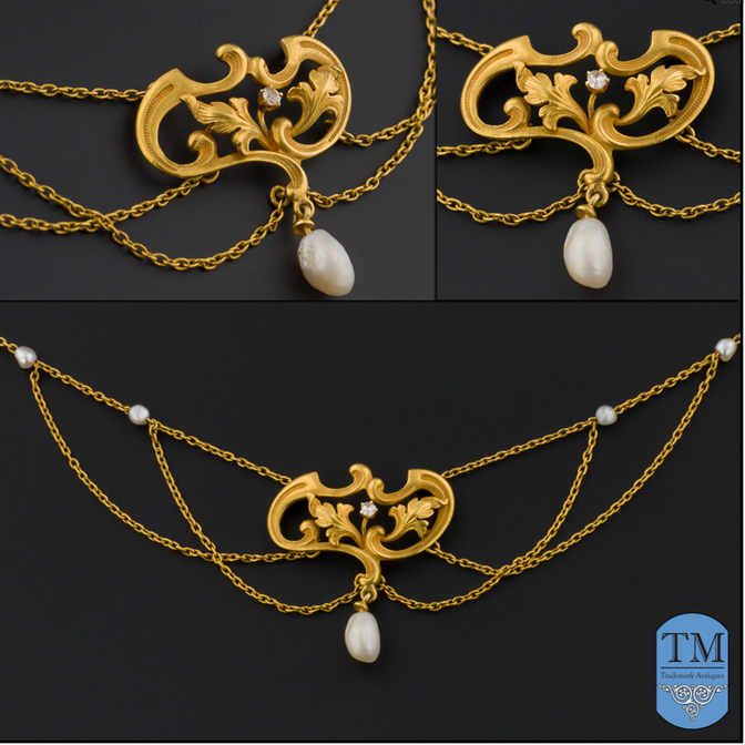 Art Nouveau 14k Gold & Pearl Festoon Necklace