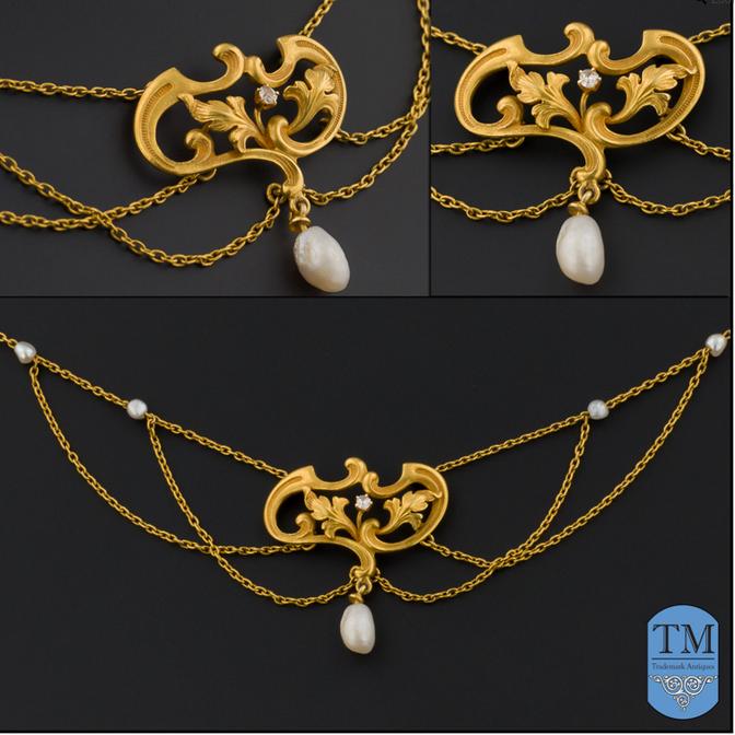 Art Nouveau 14k Gold & Pearl Festoon Necklace
