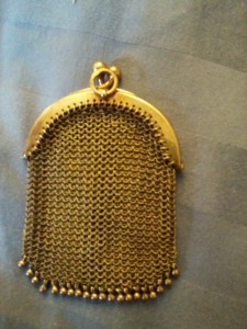 14k gold mesh coin purse