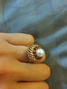 Ruby and Pearl Filigree Ring