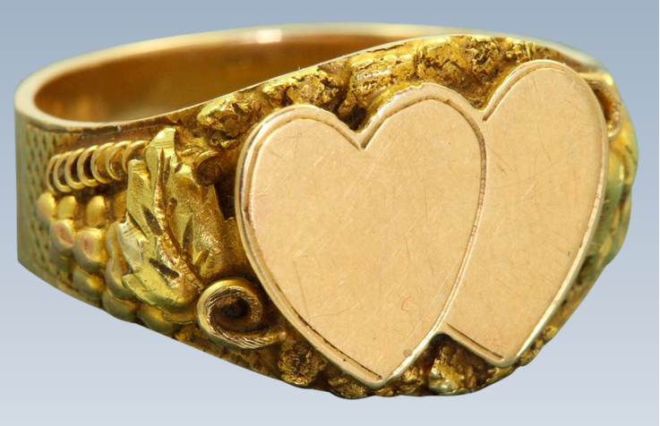 Double 14k Heart Signet Ring Featured on Ruby Lane.