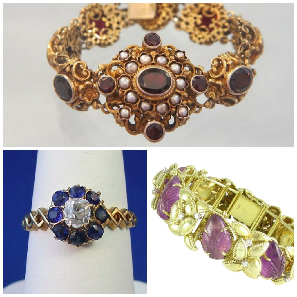 Clockwise from Top; Bohemian Garnet and Seed pearl Bracelet from Seller Akaham, Carved Amethyst and Diamond Gold Bracelet from seller Adorn, and Sapphire, Diamond and gold Ring From Seller MayFair Antique and Estate Jewelry.