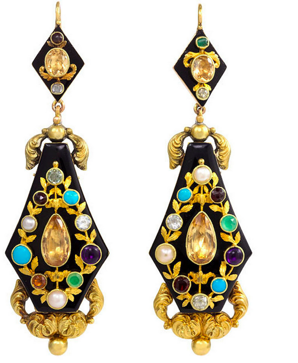 Antique Georgian Onyx and Multigemstone earrings circa 1830 from Kentshire .