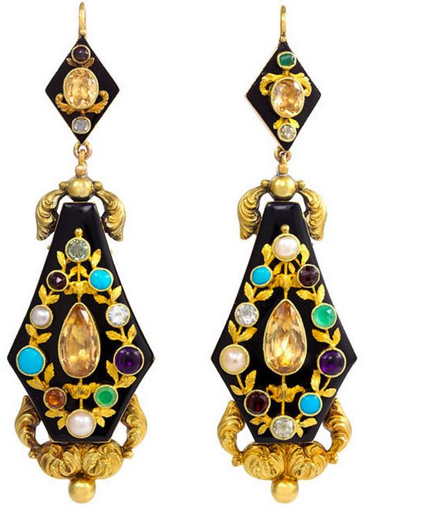 Antique Georgian Onyx and Multigemstone earrings circa 1830 from Kentshire .