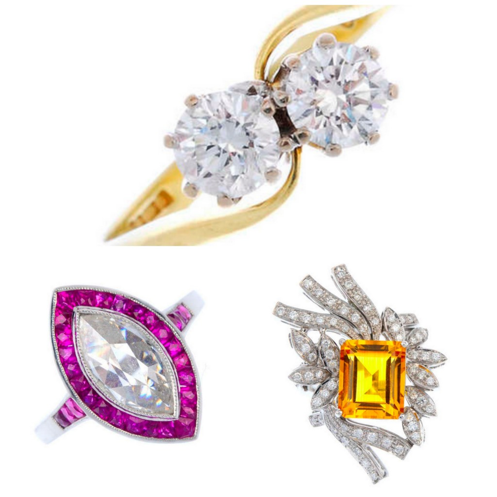 Jewelry Up for Auction At Fellows: Clockwise from Top, Gold and Diamond Bypass ring, Citrine and Diamond Cocktail ring, and Ruby and Diamond  Pear Shaped engagement ring.