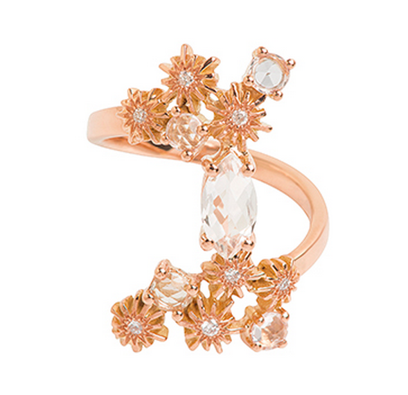 18k Pink Gold, Diamond and White Sapphire Ring by  Luxeintelligence Client Christina Debs