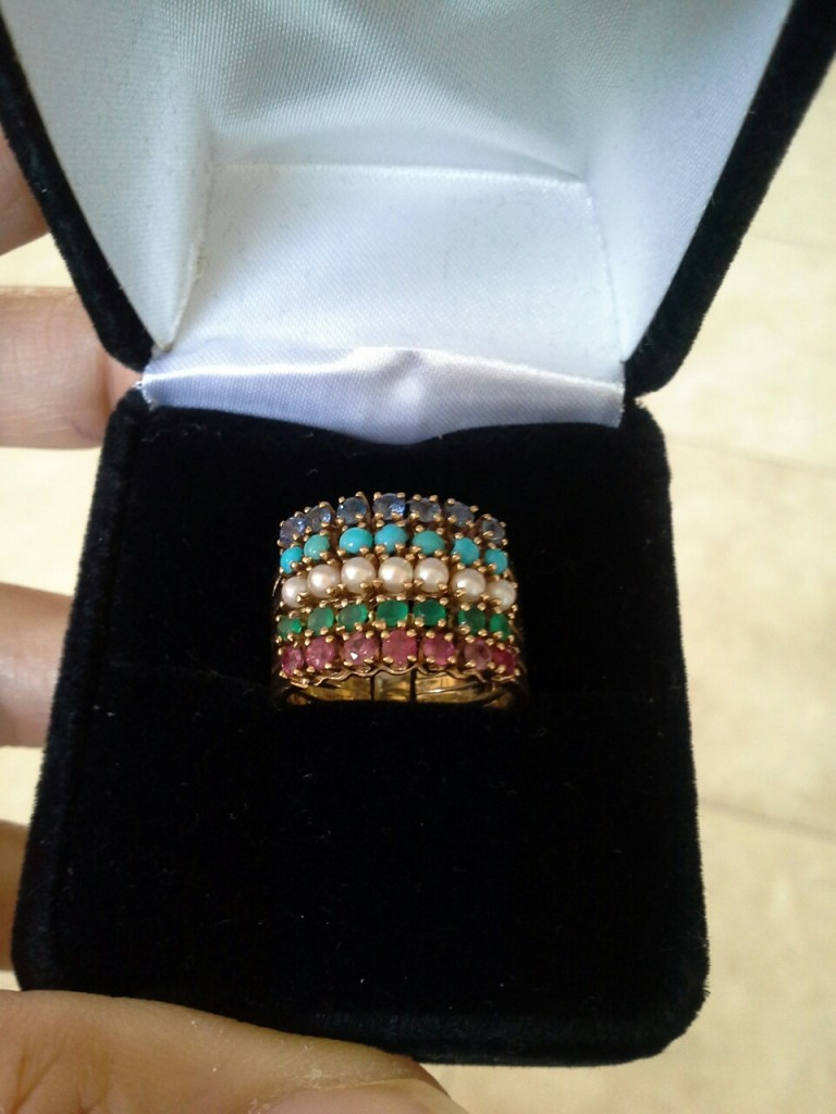 5 Band Harem Ring featuring pearls, turquoise, emeralds, rubies, and sapphires.