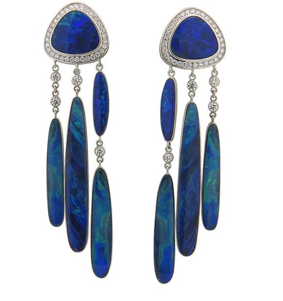 Estate Jorge Adeler 14K Black Opal earrings from Oak Gem