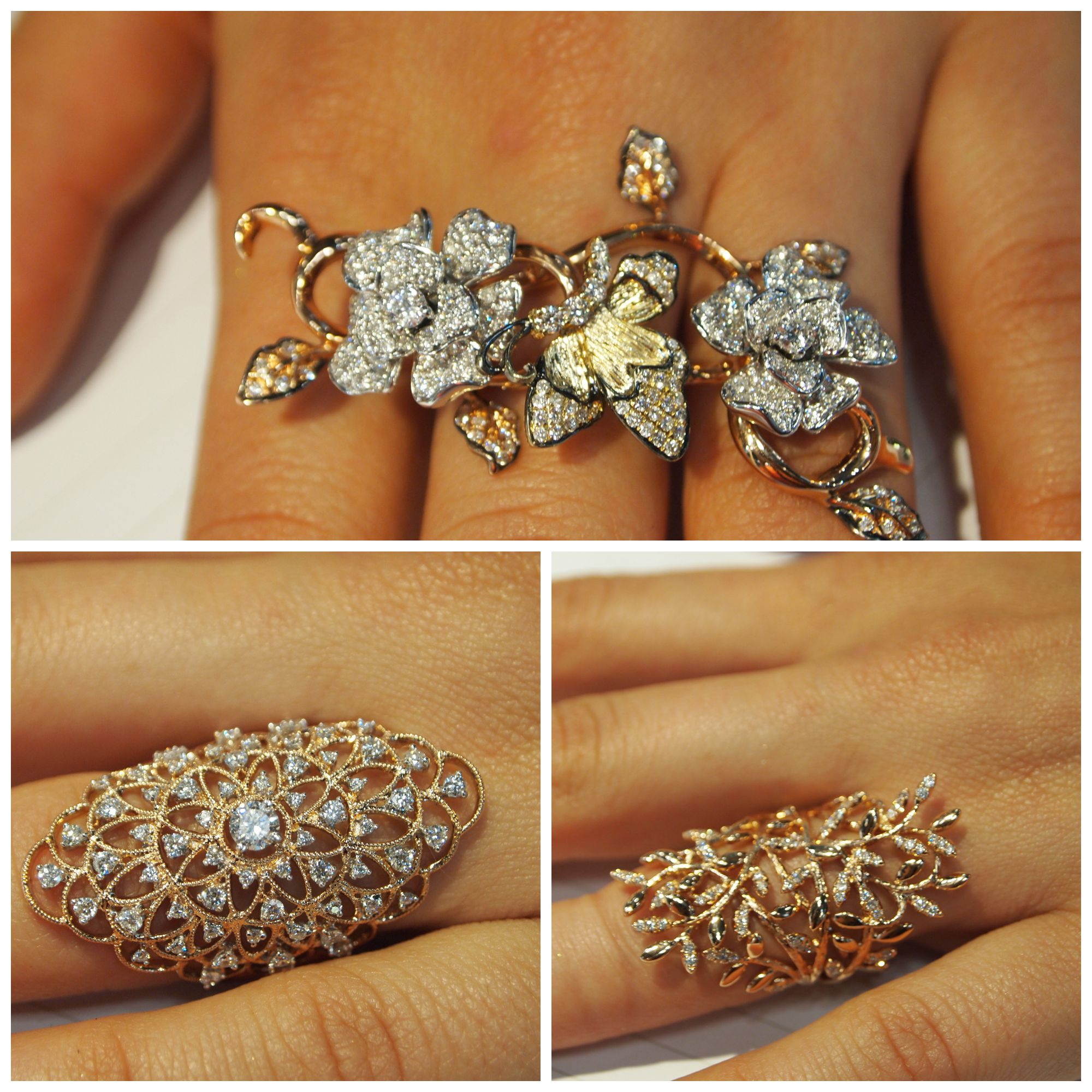 Collage of KGM beauties, all in 18k yellow gold and diamonds.