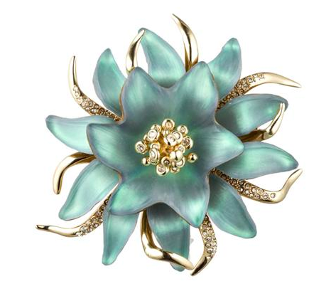 Green Lucite Flower Brooch from Alexis Bittar. Available at Greenwich Jewelers