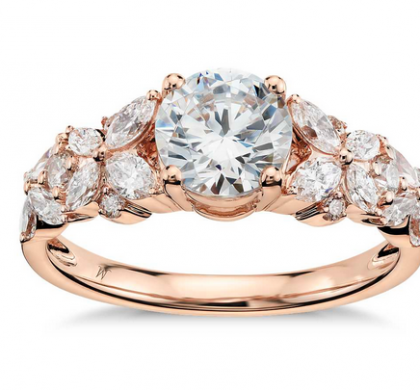 Monique Lhuillier for Blue Nile Petal Garland Engagement ring in Rose Gold