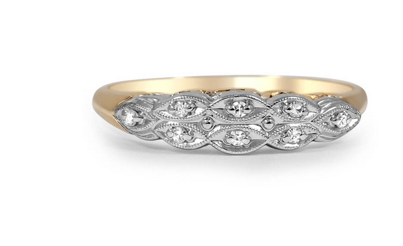 Madge Two Tone Ring from Brilliant Earth.  14k Yellow and White Gold with Diamond Chips.