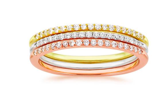 Whisper Tritone 18K Gold, Diamond Stack Rings from Brilliant Earth. $2375