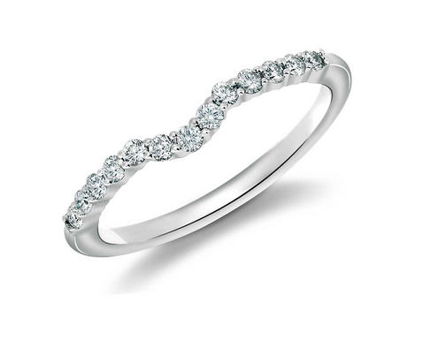 18k White Gold and Diamond Curved Wedding Band from Blue Nile.
