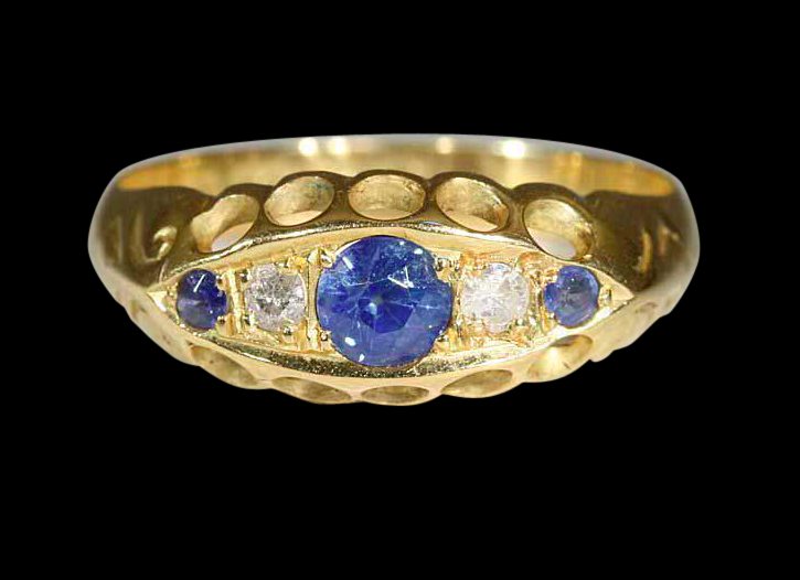 18k Yellow Gold sapphire and Diamond Edwardian Ring circa1916 stamped Birmingham. $760 from Ruby Lane seller Victoria Sterling