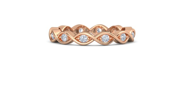 Twist Eternity Band from Gemvara set in14k Rose Gold with Diamonds. $930