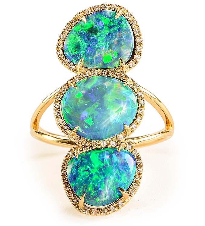 Getana Triple Opal and Diamond Elongated Ring available from Greenwich Jewelers.