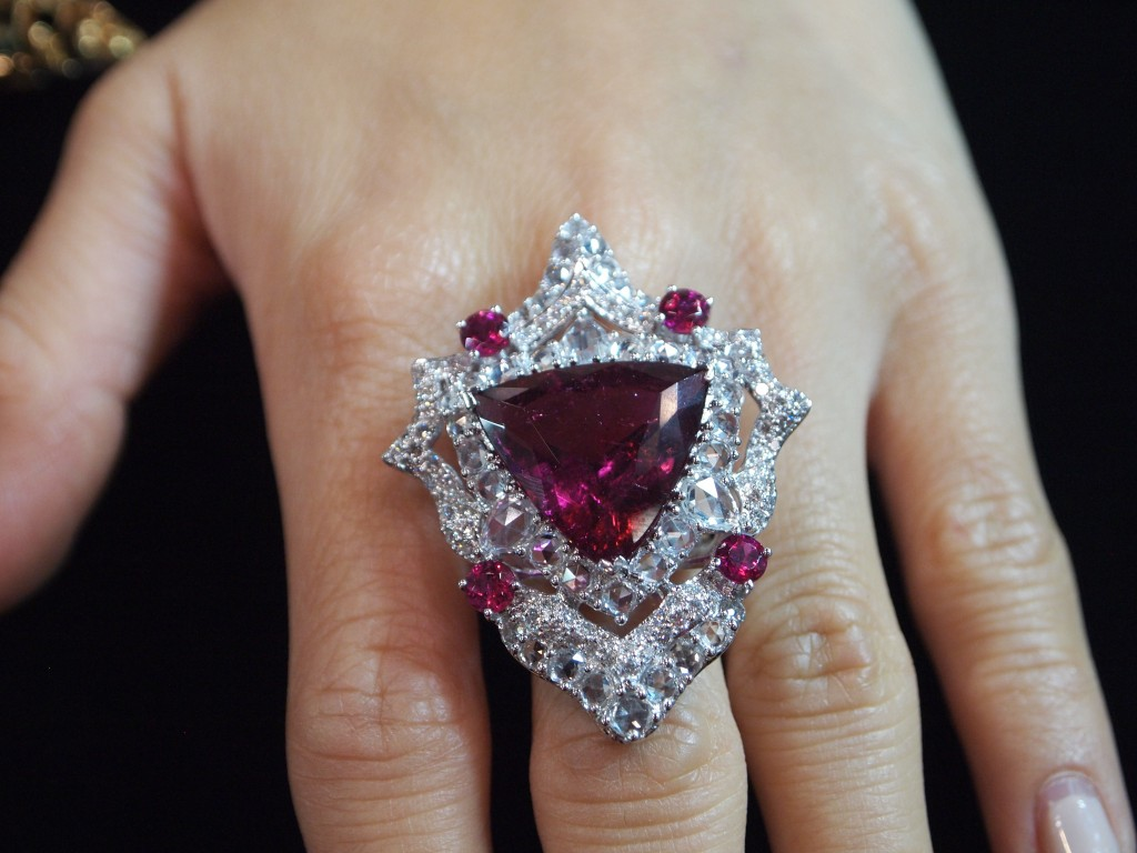 Rubellelite and Diamodn Shield ring. You can see just a bit of pleochroism in the Rubellite.
