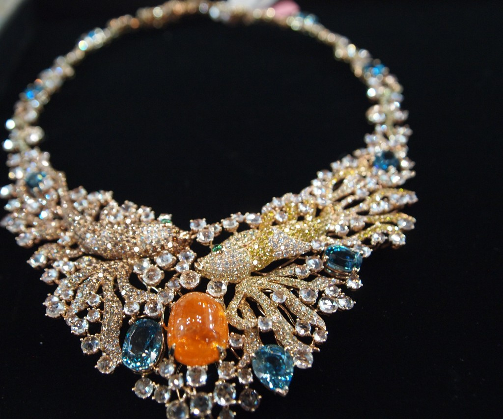 Koi Fish in A sea of Gems featuring candy colored gemstones.