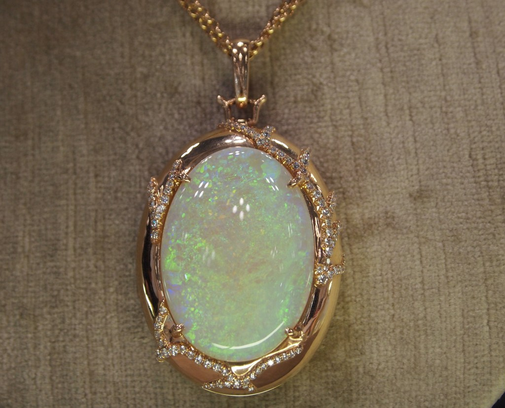 This piece was huge. Its hard to miss that opal, and the play of fire, well it was amazing. Pendant by Monica Rich Kosann, in 18k Rose gold with diamonds,