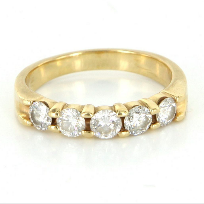 14k Yellow Gold Wedding Band Set with 5 Round Brilliant Diamonds. $695 Available From Ruby Lane seller Sophie Jane