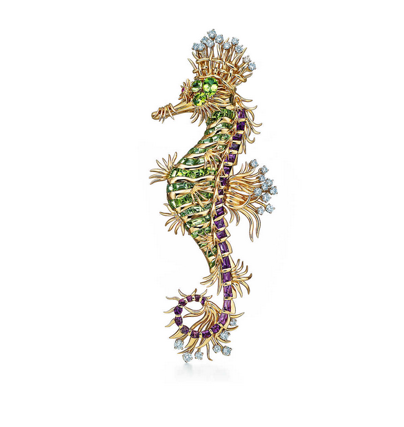 Seahorse Brooch set with Amethyst, Peridot and Diamonds, by Schlumberger for Tiffany.