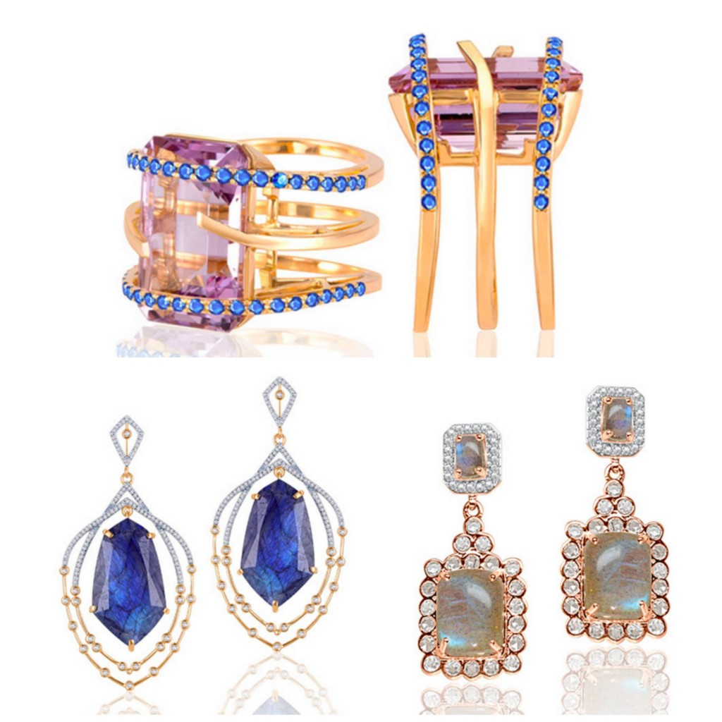 Clockwise From Top; Arya Esha Pink Amethyst and sapphire ring in recycled 14k gold; Labradorite and Rose Cut Diamond Earrings Set in 14k Recycled Gold;Labradorite and Diamond earrings set in14K Recycled Gold.