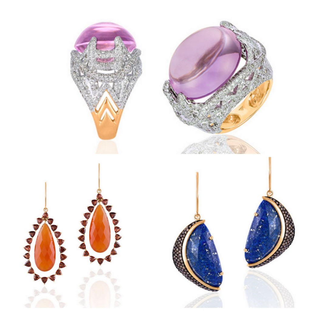 Clockwise From Top; Pink Amethyst and Diamond Ring In Recycled 14K Gold, Red Carnelian and Garnet Earrings  set in 14K Recycled Gold. Lapis Lazuli and Champagne Diamond Earrings set in 14K Recycled Gold.