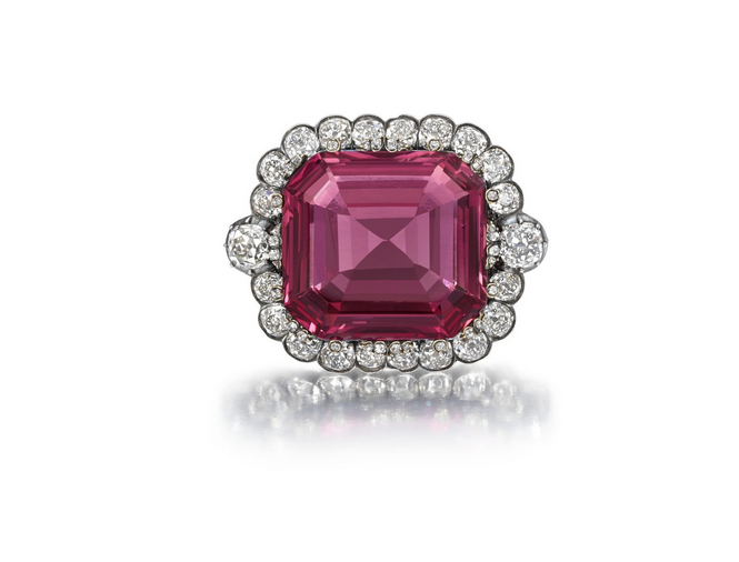 50 Carat  Hope Spinel Surrounded by a Diamond Frame.