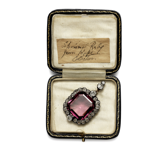 Hope Spinel in it's original box, with a note stating that is is the Hope Spinel Ruby.
