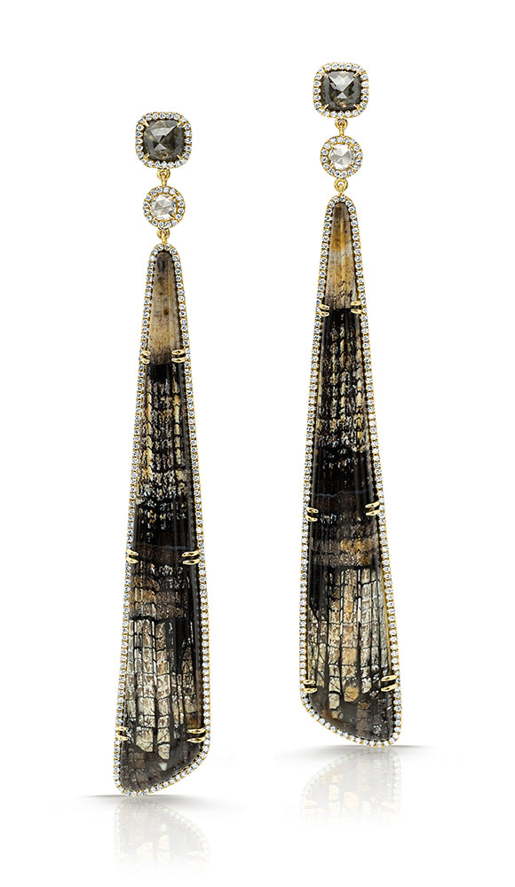 Pamela Huizenga 18k gold earrings with long Fossilized Oak, white rose cut diamonds, Black Rose cut diamonds and white diamond frames.