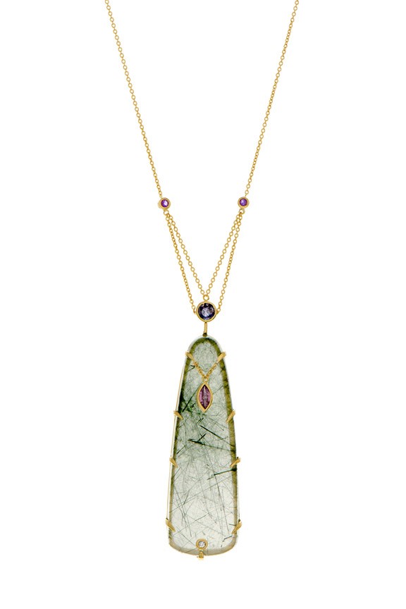 ENVY DYNASTY Actinolite in quartz with color change garnet and sapphire By Unhada Jewels