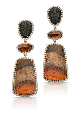 Pamela Huizenga 18K Gold Earrings with Fossil Trilobites, Pink Zircon, Xaxim, and Diamonds