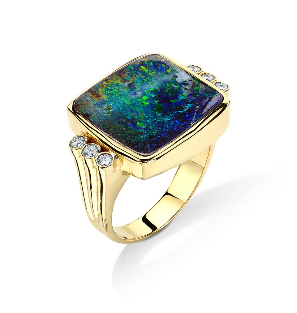 Pamela Huizenga 18k yellow gold Ring with Australian Boulder Opal and Diamonds
