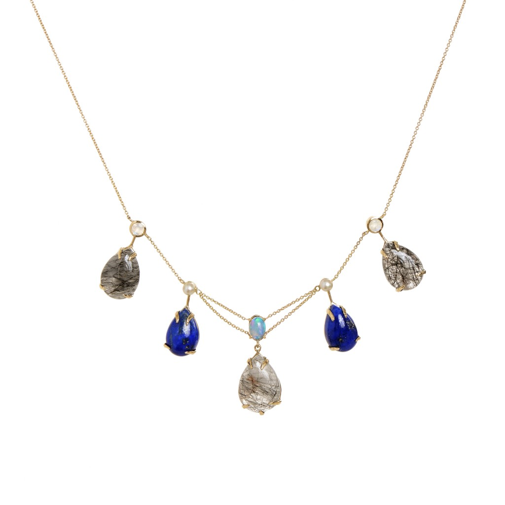 PINYIN FRINGE With Rutilated quartz, lapis, akoya pearls, faceted moonstones and crystal opal. By Unhada