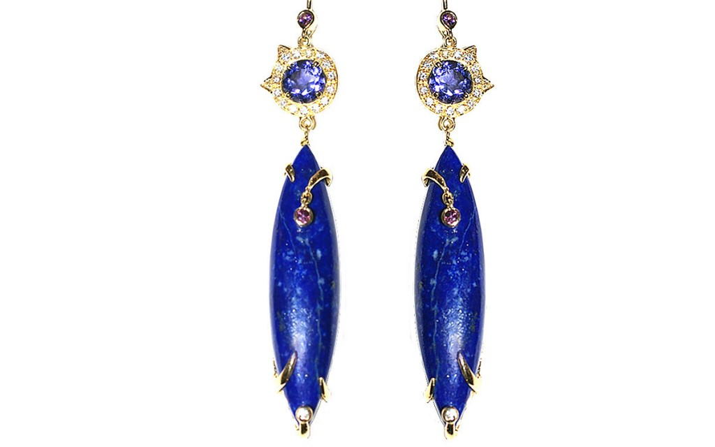 ACROBAT EARRINGS With iolite, lapis, purple sapphires and diamonds.  by Unhada Jewels